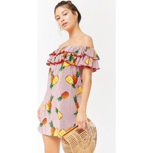 Red Striped Pineapple Print Off-the-shoulder Dress